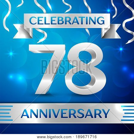 Seventy eight Years Anniversary Celebration Design. Confetti and silver ribbon on blue background. Colorful Vector template elements for your birthday party. Anniversary ribbon