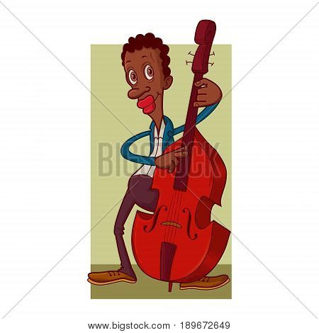 African american male contrabass player cartoon illustration