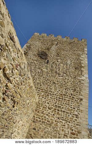 The tower of a castle found in Mertola village.