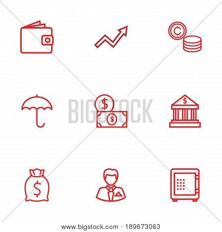 Set Of 9 Finance Outline Icons Set.Collection Of Grow Up, Wallet, Moneybag And Other Elements.