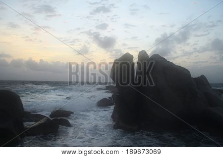 Beautiful views of large rocks in the ocean off the north shore of Aruba.