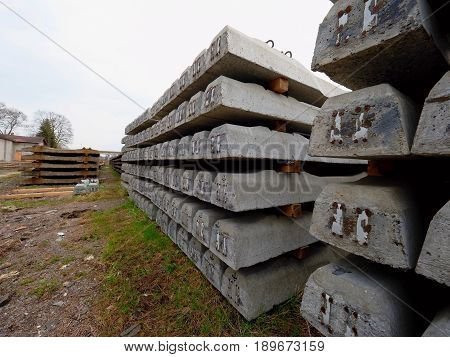 Sleepers Production. Concrete Casting And Assembly.  New Concrete Railway Ties Stored