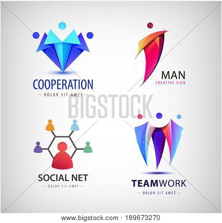 Vector men group logo, human, family, teamwork, social net, leader icon. Community, people sign in modern style. Colorful 3 person