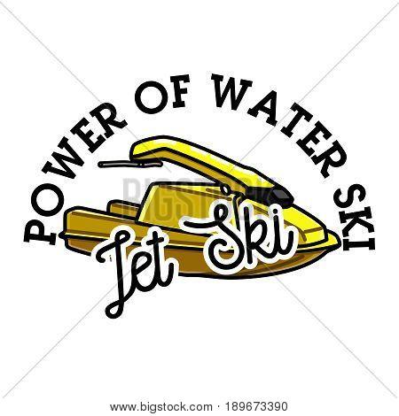 Color vintage jet ski emblem, label, badge and design elements. Vector illustration, EPS 10
