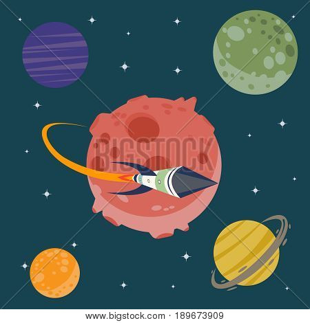 Set of huge universe infographic illustration. Outer space rocket flying up into the solar system with a lot of planets background