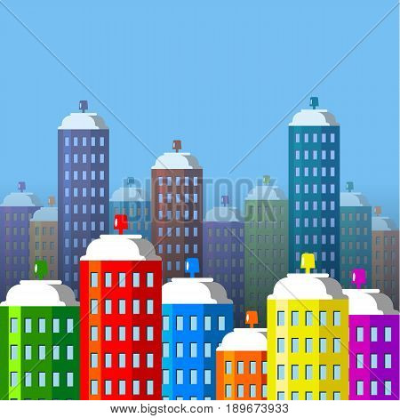 City buildings of spray paint. Aerosol cans like skyscrapers. Flat style vector illustration.