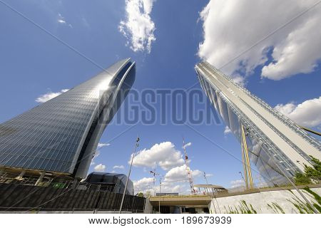 MILAN, ITALY - APRIL 17, 2017: Milan (Lombardy Italy): the skyscrapers known as Generali and Allianz Tower in the new Citylife area (Tre Torri).