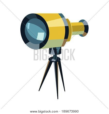Telescope flat icon Education and astronomy element spyglass and study stars vector graphics a colorful solid pattern on a white background eps 10.