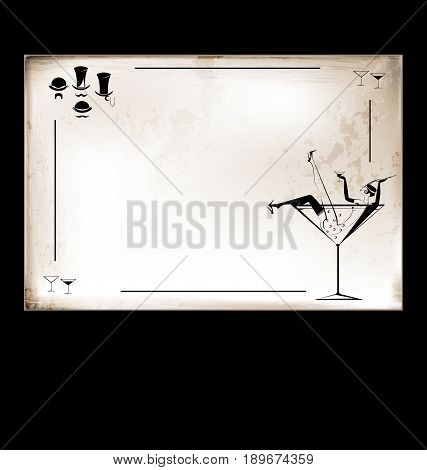 dark background, retro beige-colored card with sexy drinking girl in the large glass of wine