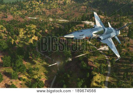 The jet plane on a background an  landscape,3d render