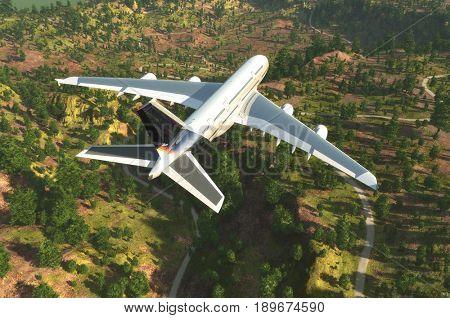 Passenger airplane on a background an  landscape,3d render