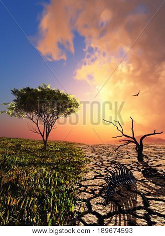 Grass and desert. ,3D render