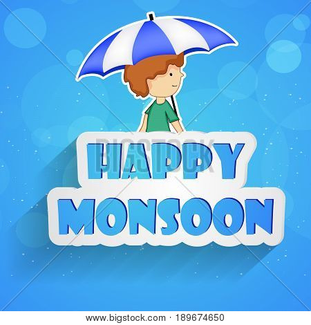 illustration of a boy under umbrella with Happy Monsoon text