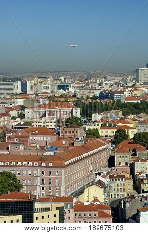 A down angle of the city Lisboa in Portugal.