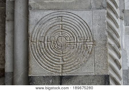 View of labyrinth engraved in the marble of a church