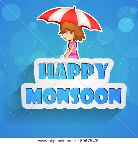 illustration of girl in umbrella with Happy Monsoon text