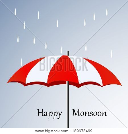 illustration of umbrella and rain with Happy Monsoon text