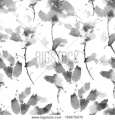 Ink illustration of flowers. Sumi-e u-sin painting. Seamless pattern.