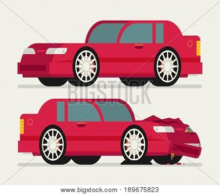 Flat Car Vehicle Before And After Car Crash Road Accident.