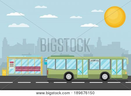 Vector Illustration Of Bus Stop With City Skyline And Bus. Flat Design Style.