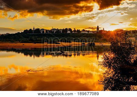 Silhouette of the city of Kirov in the evening at sunset