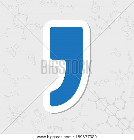Vector flat sticker comma icon on white background