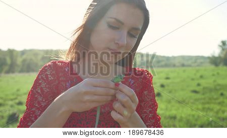 The girl is holding lizard. Girl in nature holds a green lizard lifestyle