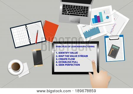 Top view of office desk with supplies. The hand is touching tablet screen with text describing the principles of lean management.