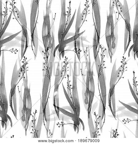 Watercolor and ink illustration of grass. Sumi-e u-sin painting. Oriental traditional style. Seamless pattern.