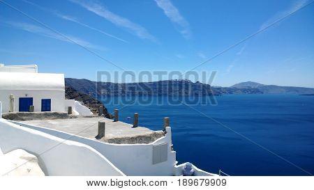 Beautiful sea view from Oia on Santorini (Greece)