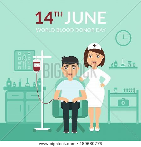 World Blood Donor Day. Medical banner. Health care. A nurse or doctor at the clinic and the patient. Flat design.