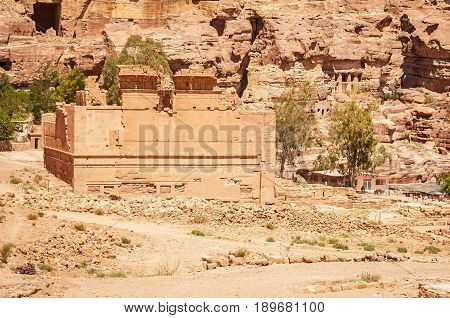 PETRA, JORDAN. May 1, 2014. Qasr al-Bint (Temple of Dushares). Built around 30 BC by the Nabataeans, it was one of the most important temples in Petra. Later adapted to the cult of Roman emperors.