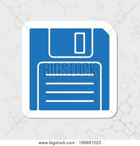 Vector flat sticker retro floppy disk icon on white background
