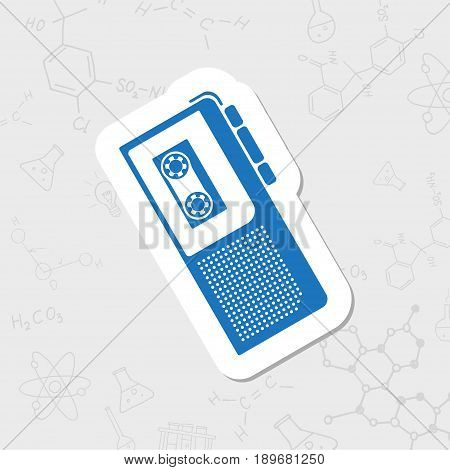 Vector flat sticker retro dictaphone icon on white background