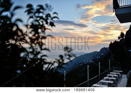 Amalfi Coast Italy - panoramic view of the sea and sky at sunset