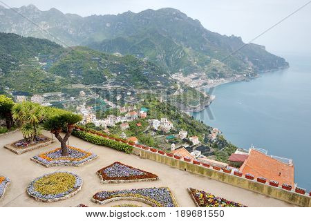 Amalfi coast panoramic view from Villa Rufolo in Ravello Italy