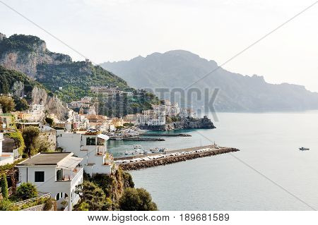 Amalfi Italy - scenic panoramic view of the city and the coast