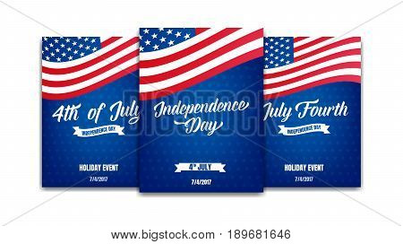 Fourth of July. 4th of July holiday event posters. USA Independence Day cards