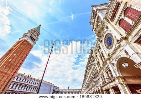 St Marks Campanile The Tower of Venetia . San Marco square in Venice, Italy famous