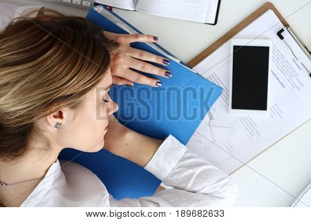 Tired Businesswoman At Workspace In Office Take Nap