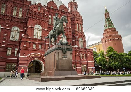 MOSCOW, RUSSIA. June 2016. A monument to the marshal of the Soviet Union Georgy Zhukov in front of the History Museum near the Red Square. He was a career officer: Chief of Staff and Defense minister