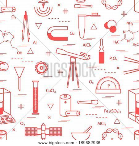Seamless Pattern With Variety Scientific, Education Elements: Dividers, Formula, Test-tube, Satellit