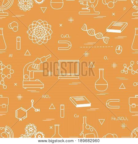 Seamless Pattern With Variety Scientific, Education Elements: Globe, Microscope,magnet, Flask, Molec