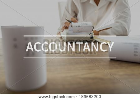 Accountancy Text Over Accountant Or Financial Adviser