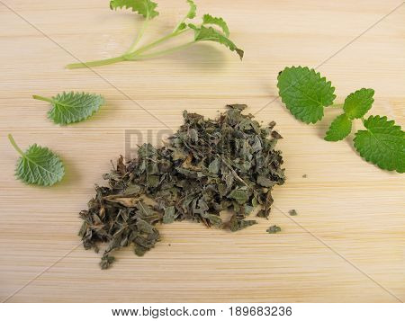 Dried leaves from lemon balm, melissa folium