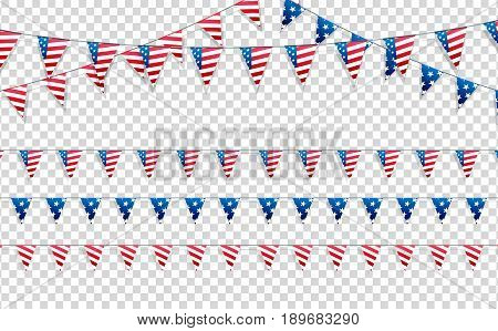 4th of July. Decoration set of garlands for USA national holidays, events, banners, posters, web.. Fourth of July vector illustration
