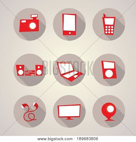 Modern Devices Set Collection with icons of nine electronic gadgets vector illustration