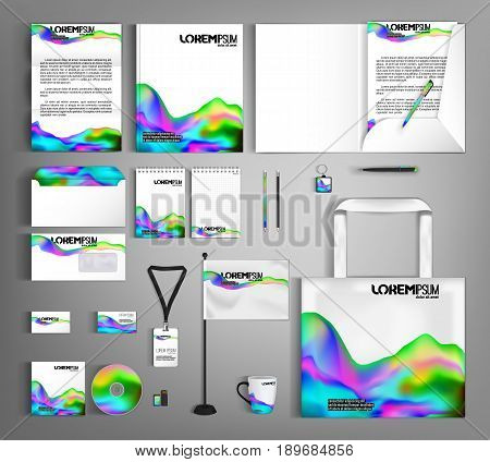 Futuristic dynamic design with fluid colors. Corporate identity template design with liquid color. Business set stationery. Suitable for brand advertising