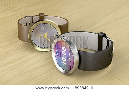 Silver and gold luxury smart watches on wood table, 3D illustration