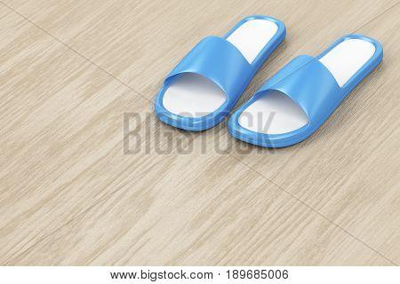 Rubber slippers on wooden floor, 3D illustration